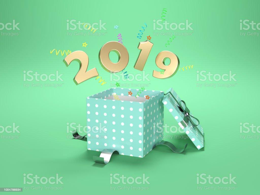 New Year 2019 Creative Design Concept stock photo
