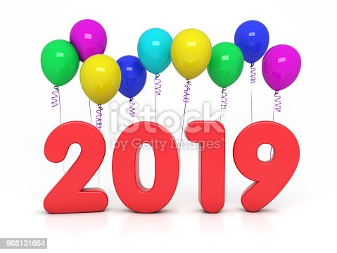 istock New Year 2019 Creative Design Concept with Balloon 968131664