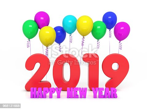 istock New Year 2019 Creative Design Concept with Balloon 968131668