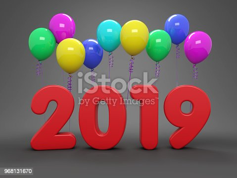 istock New Year 2019 Creative Design Concept with Balloon 968131670