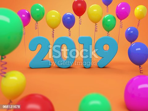 istock New Year 2019 Creative Design Concept with Balloon 968131678