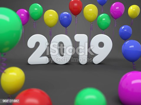 istock New Year 2019 Creative Design Concept with Balloon 968131682
