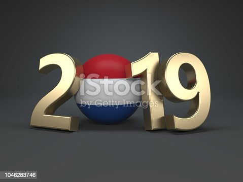 istock New Year 2019 Creative Design Concept with Flag 1046283746