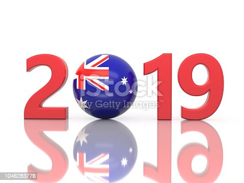 istock New Year 2019 Creative Design Concept with Flag 1046283776