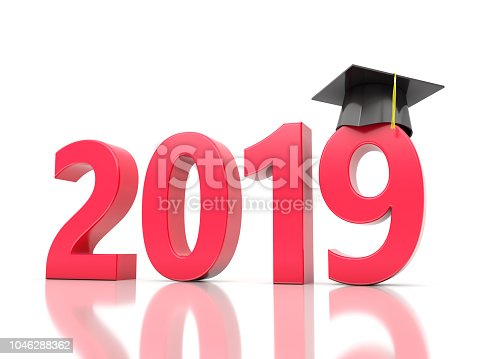 istock New Year 2019 Creative Design Concept with Graduation cap 1046288362