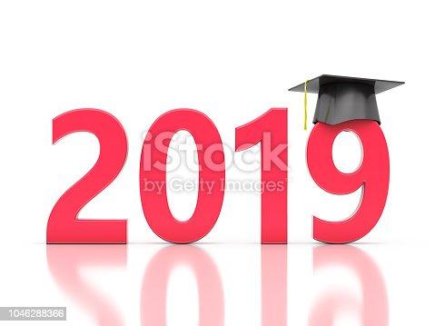 istock New Year 2019 Creative Design Concept with Graduation cap 1046288366