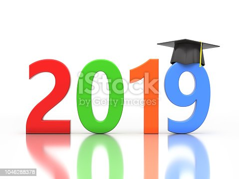 istock New Year 2019 Creative Design Concept with Graduation cap 1046288378