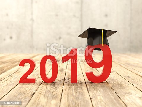 istock New Year 2019 Creative Design Concept with Graduation cap 1046288384