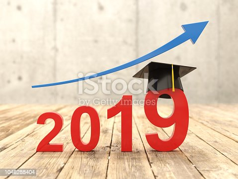 istock New Year 2019 Creative Design Concept with Graduation cap 1046288404