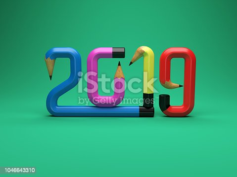 istock New Year 2019 Creative Design Concept with Pencil 1046643310