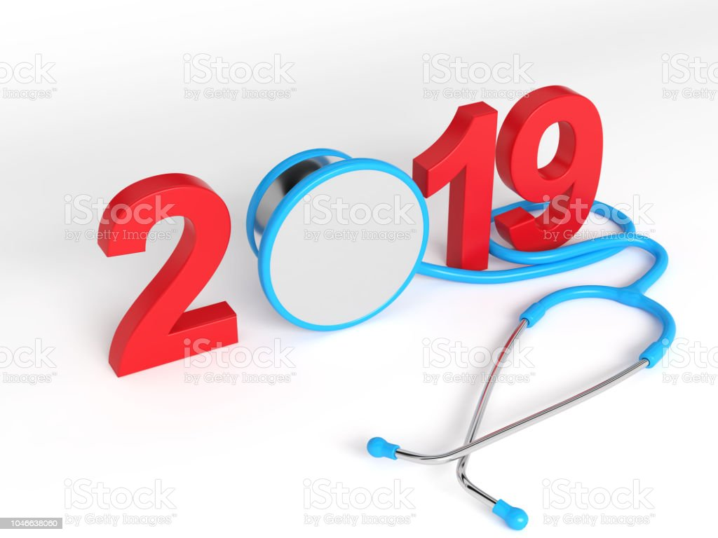 New Year 2019 Creative Design with Medical Concept stock photo