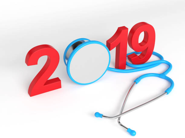 new year 2019 creative design with medical concept - new year day stock photos and pictures