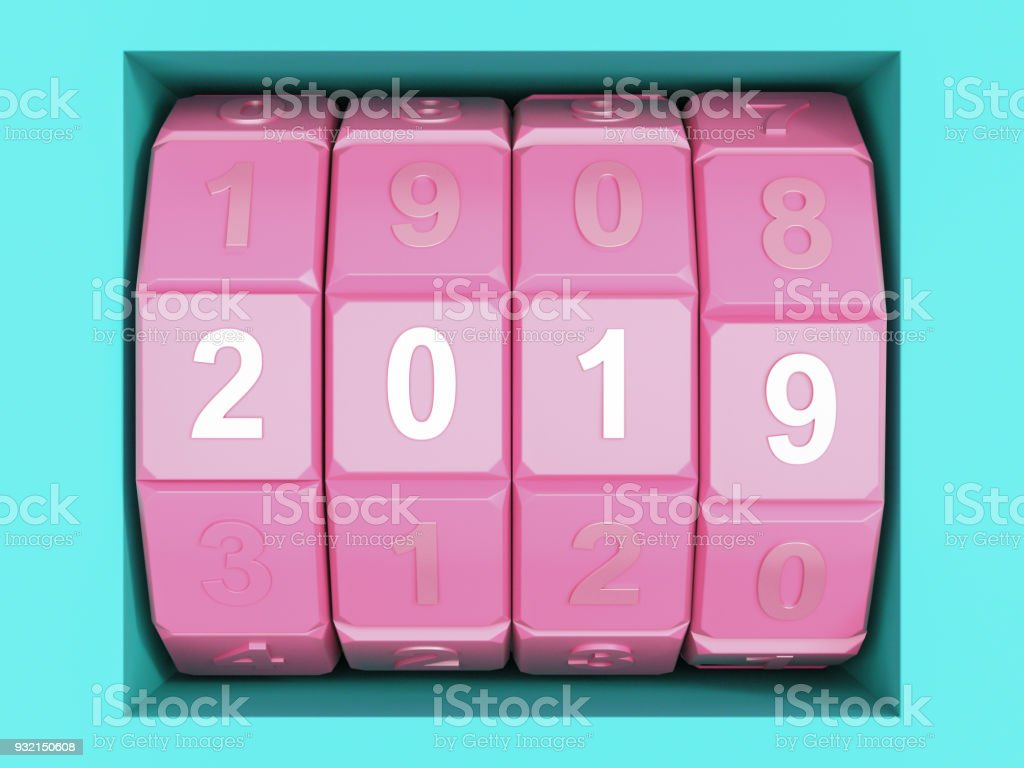 New Year 2019 Date Combination Lock stock photo