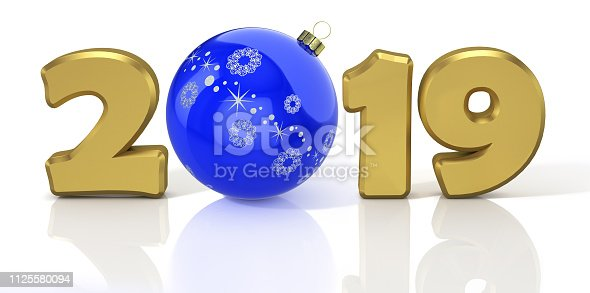 1078018146 istock photo New Year 2019. Design concept with blue shiny christmas ball. 3D render 1125580094