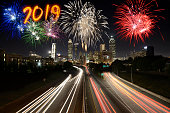 New year 2019 fireworks celebration over Atlanta, Georgia, USA