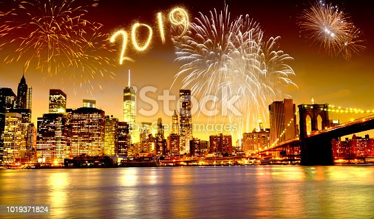 952065128 istock photo New year 2019 fireworks celebrations in New York City 1019371824
