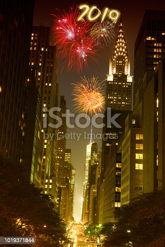 952065128 istock photo New year 2019 fireworks celebrations in New York City 1019371844