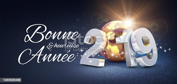 istock New Year 2019 Greeting card in French 1063938486