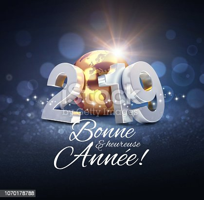 968131582 istock photo New Year 2019 Greeting card in French 1070178788