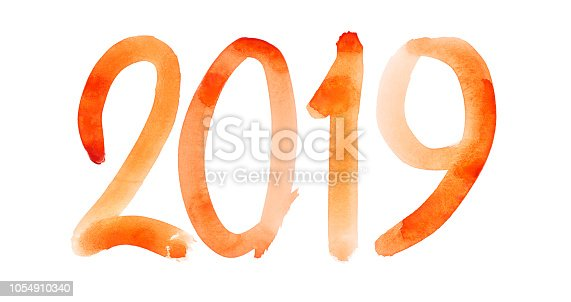 1029792184istockphoto New year 2019 - Hand drawn red watercolor number 1054910340