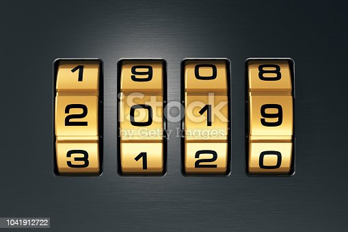 Creative abstract New Year 2019 celebration concept: 3D render illustration of the macro view of combination lock with 2019 code text