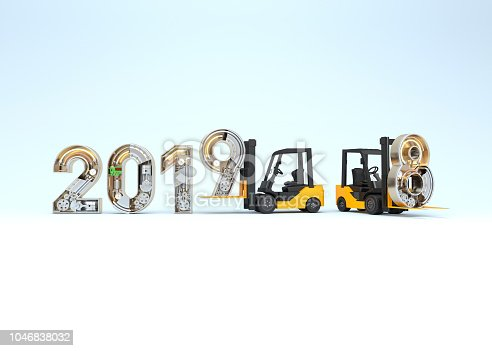 istock New year 2019 made from mechanical alphabet and forklift 1046838032