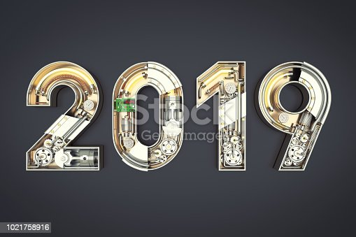 istock New year 2019 made from mechanical alphabet with gear 1021758916