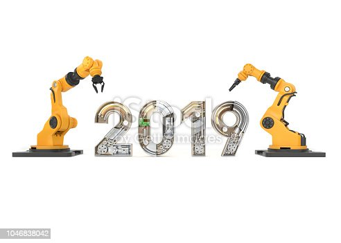 istock New year 2019 made from mechanical alphabet with robotic arm 1046838042