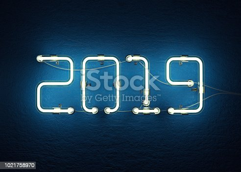 istock New year 2019 made from neon alphabet 1021758970