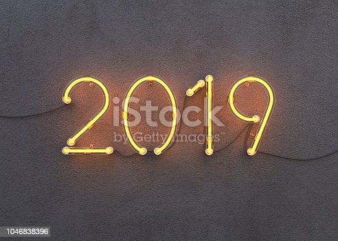 istock New year 2019 made from neon alphabet 1046838396