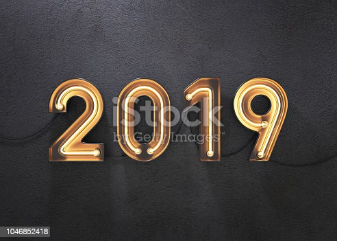 istock New year 2019 made from neon alphabet. 1046852418