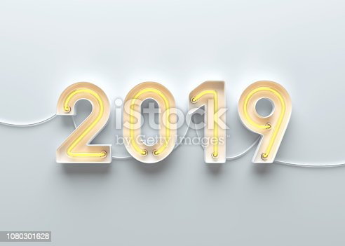 1049836902 istock photo New year 2019 made from neon alphabet 1080301628