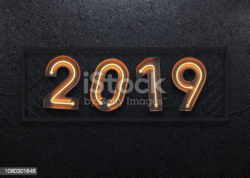istock New year 2019 made from neon alphabet 1080301648