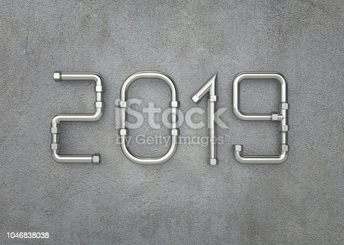 istock New year 2019 on concrete wall 1046838038