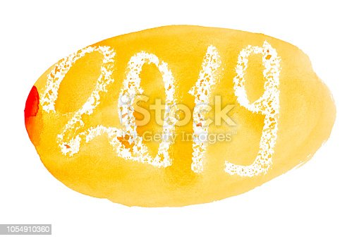 istock New year 2019 -  Orange watercolor lettering 1054910360