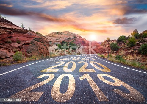 2019 road with sunrise and upcoming years ahead