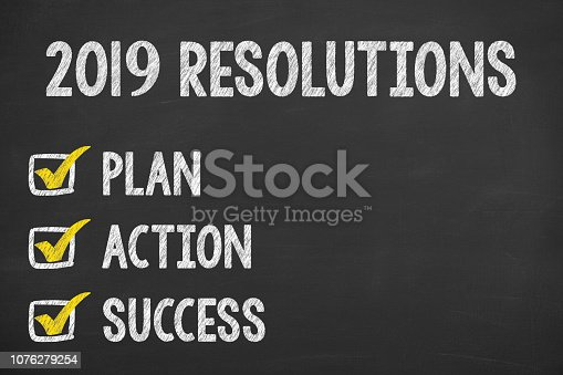 1069595584 istock photo New Year 2019 Resolutions on Chalkboard Background 1076279254