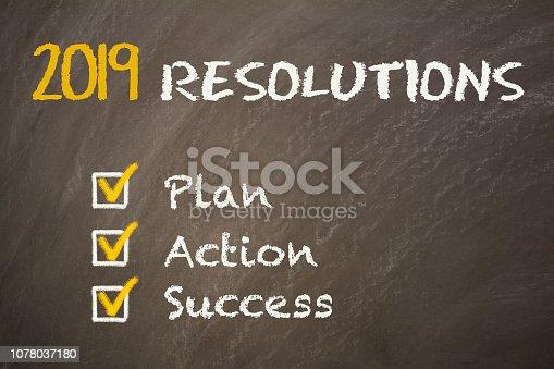 istock New Year 2019 Resolutions on Chalkboard 1078037180