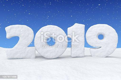1078018146 istock photo New Year 2019 snow text on snow under snowfall 1057811696