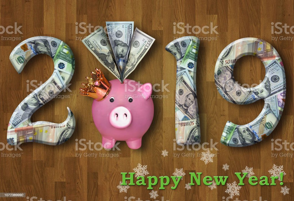 New Year 2019 with a piggy bank 2 stock photo