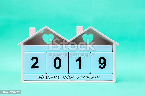 istock New Year 2019 with Blue block 1049554252