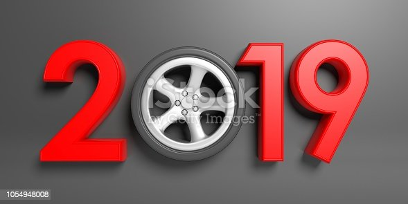 1033275118 istock photo New year 2019 with car's wheel isolated on gray background. 3d illustration 1054948008