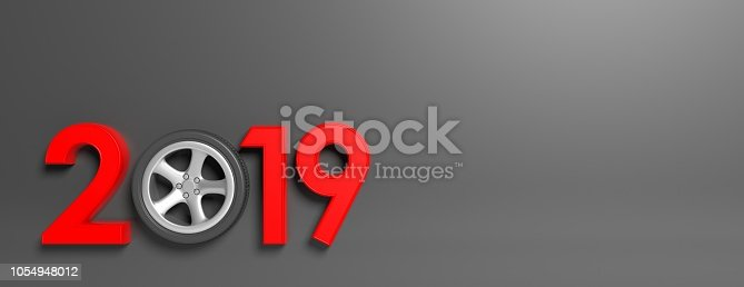 1033275118 istock photo New year 2019 with car's wheel isolated on gray background, banner, copy space. 3d illustration 1054948012