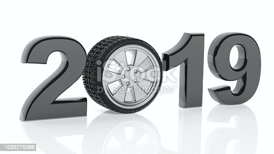 1033275118 istock photo New year 2019 with car's wheel isolated on white background. 3d illustration 1033275088