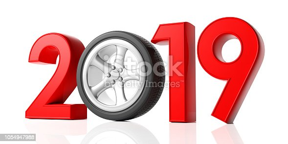 1033275118 istock photo New year 2019 with car's wheel isolated on white background. 3d illustration 1054947988