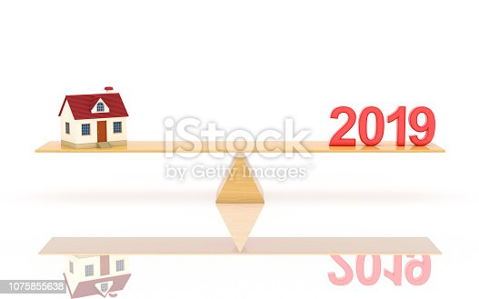 istock New Year 2019 with House Model - 3D Rendered Image 1075855638