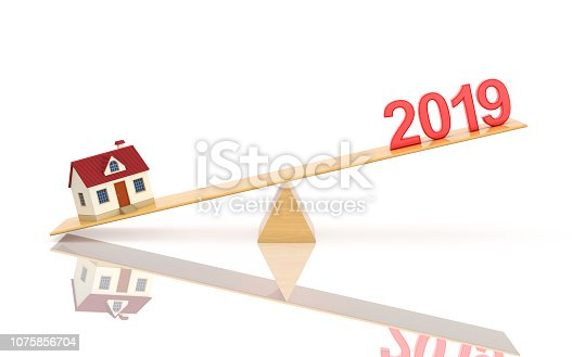 istock New Year 2019 with House Model - 3D Rendered Image 1075856704