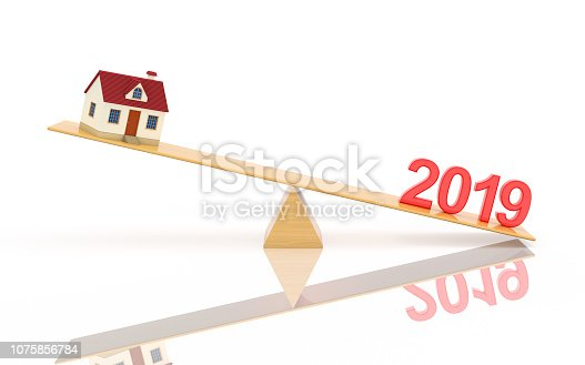 istock New Year 2019 with House Model - 3D Rendered Image 1075856784