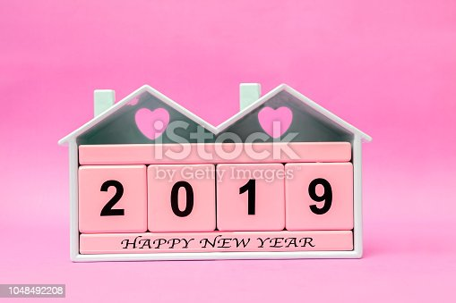 istock New Year 2019 with Pink block 1048492208
