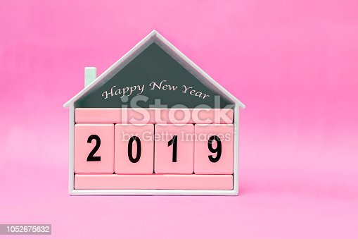 1054929988 istock photo New Year 2019 with Pink block 1052675632